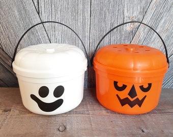 2 Vintage McDonalds Halloween Trick-or-Treat Bucket Basket {Happy Meal Toy} Orange Pumpkin Jack-O-Lantern Bucket- Cute Halloween Decoration!
