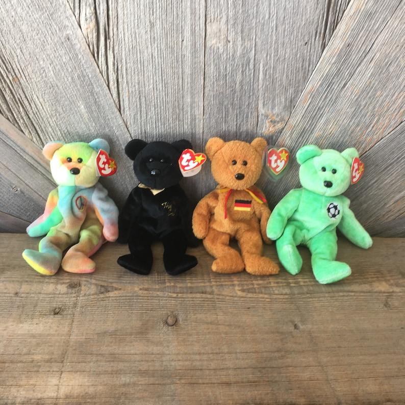 Vintage Bear Beanie Baby The End Germania German Kicks  bf4e4d29f25b