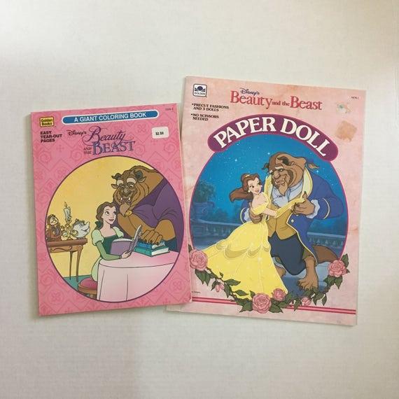 La bella y la bestia de papel muñecas y el libro de colorear