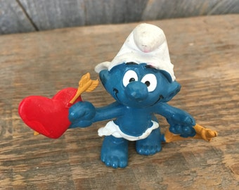 Vintage Smurf Cupid Heart Valentines Day Smurf Schleich 1980 Peyo Hong Kong {Heart Bow and Arrow Angel Wing Love Smurf}