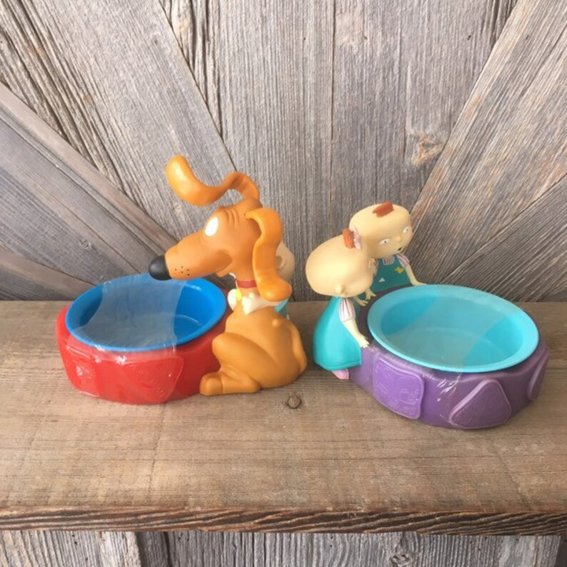 Vintage Rugrats Bowls Pet Cereal Bowl Tommy Spike Phil Lil 90s Toy Nickelodeon Baby Cartoon Viacom Dolls Action Figures 1998 Toys Dog Cat