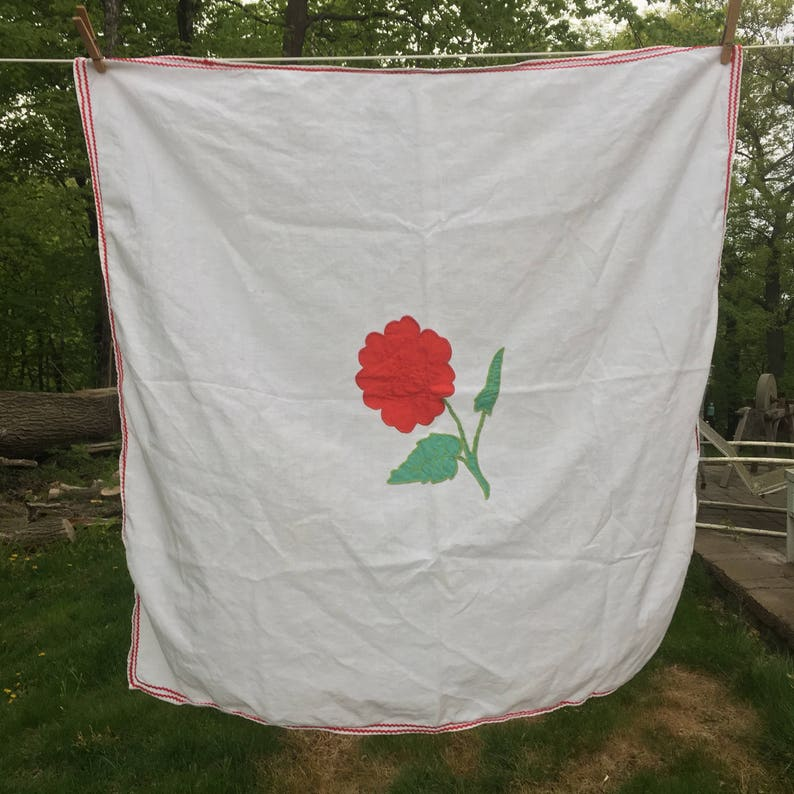 Vintage Red Flower Tablecloth {Retro Colors} Small Square Spring Summer Bright Flower Rick Rack Edge Table Cloth Card Table Picnic Christmas