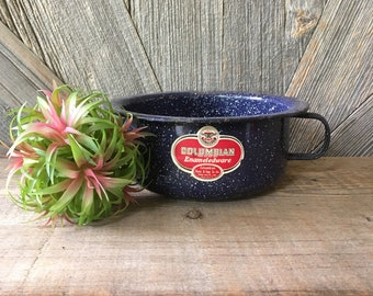 Vintage Enamel Large 7.5 inch Bowl {Enamelware Blue Graniteware Mug Soup Bowl} Herbs Succulent Plants. Vintage Planter Columbian Kitchen Art