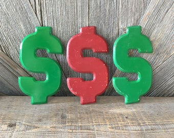 Vintage Metal Dollar Sign Old Sign Green Red Medium Small 7 1/2 inch metal Wall Hanging, Money Decoration Cash Metal Price