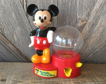 Vintage Mickey Gum Ball Machine Coin Bank {Vintage Disney Mickey Mouse} Working Candy Dispenser Bubble Gum Machine Ball Globe Decoration Toy