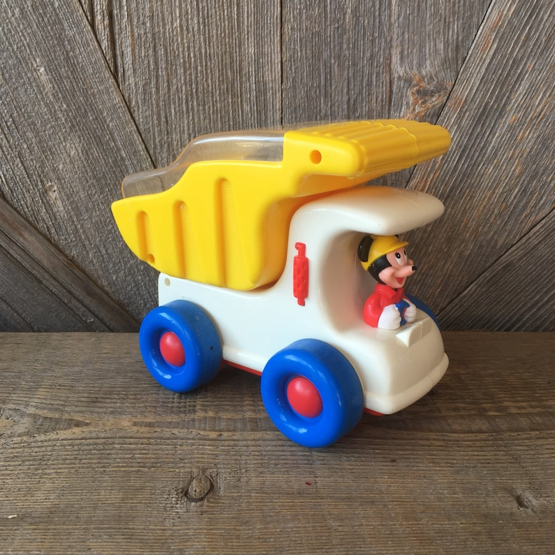 Vintage Mickey Mouse Dump Truck with Popping Balls Plastic Disney Baby Toy  90s Kid Mickey Mouse Garbage Truck Pop Colorful Balls Toddler