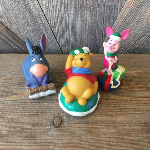 Tigger Christmas Ornaments.3 Vintage Pooh Disney Christmas Ornaments Figurine Winnie Stocking