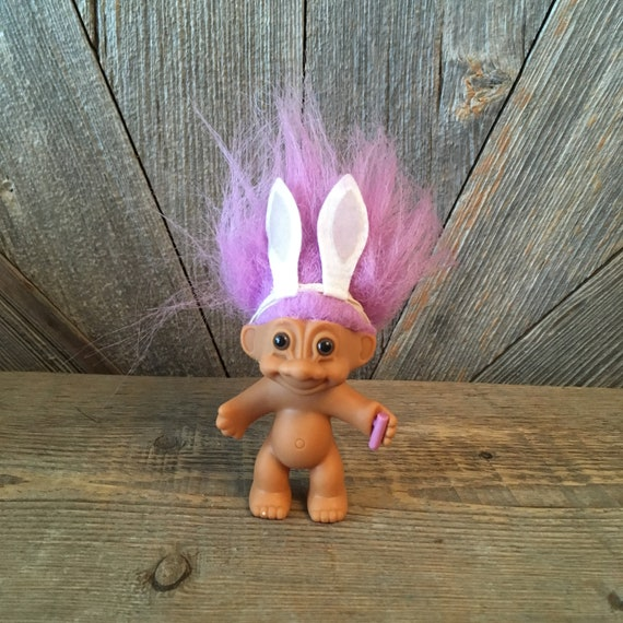 """RUSS BABY TROLL DOLL EASTER CART 2/"""" COLORED EGGS EASTER BUNNY NEW  VTG"""