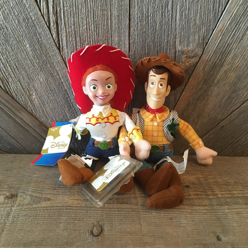 635d3e81 2 Vintage Toy Story 2 Bean Babies Woody Jessie Dolls Cowboy Cowgirl Disney  Plush Toy Action Figure Doll 90s Decorations Toy Story 2 Boy Gift