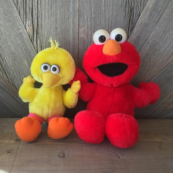 3b0ff629b96 Vintage Tickle Me Elmo Giggles Big Bird Stuffed Laughing
