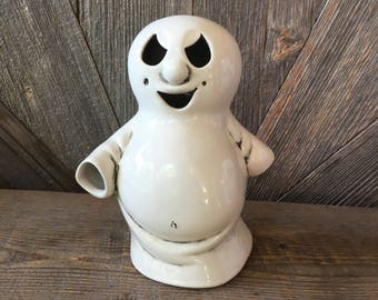 Vintage Ghost Votive {Ceramic Ghost Candle Holder Halloween Decoration} Glowing Ghost Halloween Decor Retro Trick or Treat Party Decoration