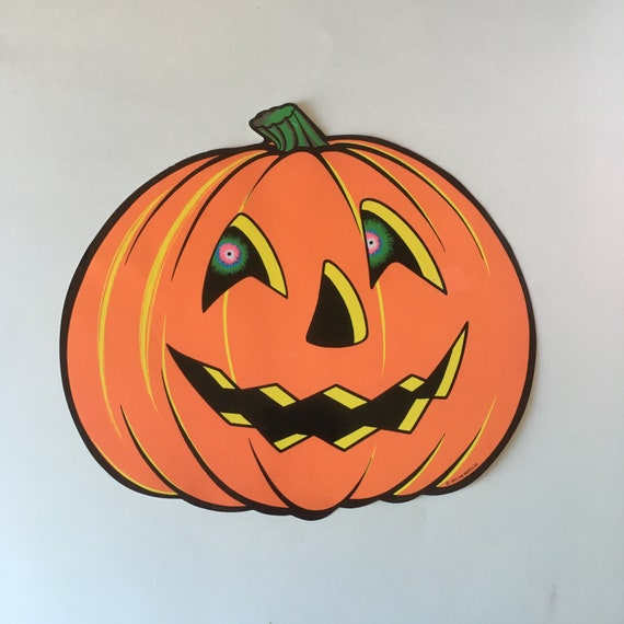 Vintage Halloween Pumpkin Decoration BEISTLE Large Jack,o,lantern Pumpkin  Die Cut Cardboard/ Paper Party Decoration Orange Jack O Lantern