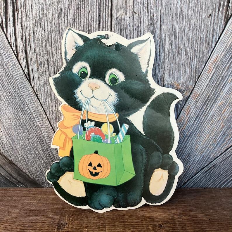 Vintage Halloween Decoration Black Cat Jack-o-lantern Pumpkin Trick-or-Treat Die Cut Cardboard Paper Party Decoration Retro Decor