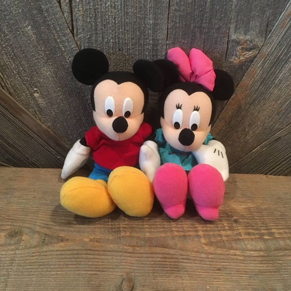 Zitzak Minnie Mouse.Vintage Mickey Mouse Minnie Mouse Bean Babies Pink And Blue Etsy
