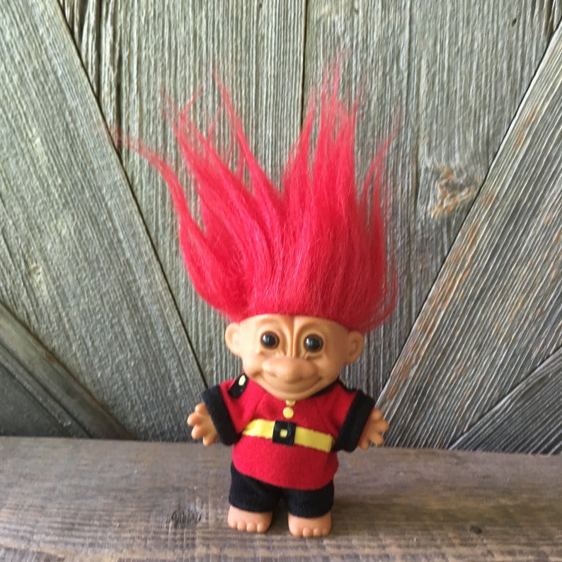 Vintage British Troll Doll {England Troll with Red Hair} Russ Berrie {5  inch Troll} Vintage Troll Doll International Around the World Guard