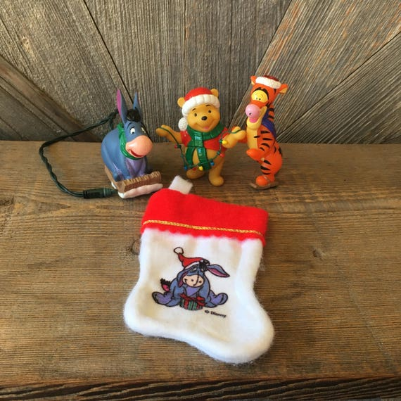 Tigger Christmas Ornaments.4 Vintage Pooh Disney Christmas Ornaments Figurine Winnie Stocking