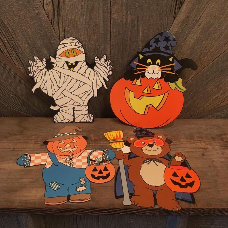 4 Vintage Halloween Decoration {Amscan} Trick Or Treat Bear Pumpkin,  Mummie, Black Cat, Scarecrow, Die Cut Cardboard/ Paper Party Decoration