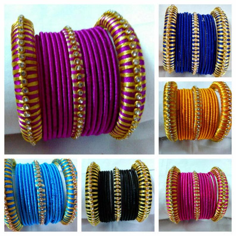 Silk Thread Bangles Indian Handmade Jewellery Baby Shower Etsy