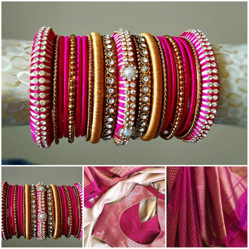 e77ad7708e88 Brazaletes de hilo pulseras de Novia de seda color de rosa