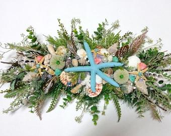 Natural Twig Swag-Seashell Blue Starfish Swag-Home Wall Decoration-Mixed Natural Seashell Horizontal Swag-by Floramiagarden