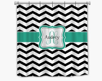 Chevron Shower Curtain Black Whitewash Teal Accent Stall Size Available Any Color With Your Personalization Monogram