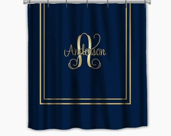 Stall size shower cartain-Simplicity Navy Blue with Gold Accent shower curtain. Personalize, many colors available