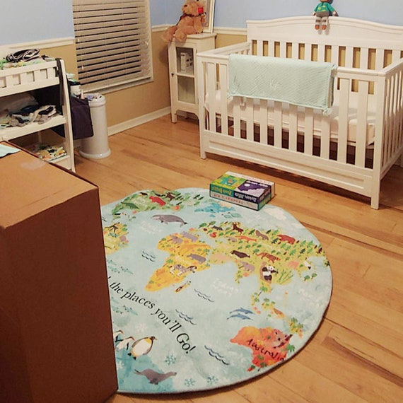 Nursery World Map Round Rug , Animal World Map Carpet Floor Mat, Personalized on map blanket, map math, map toys, map sheet, map cabinet, map lamp, map decor, map pouf, map quilt, map tile, map storage, map clock, map upholstery, map tree, map bag, map frame, map accessories, map trunk, map furniture, map carpet,