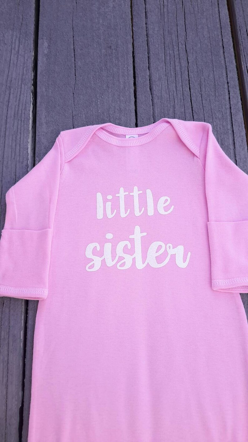 little sister sleep sack sleeper pink baby sister pajamas pj baby sibling sister baby shower gift white and pink fast shipping newborn