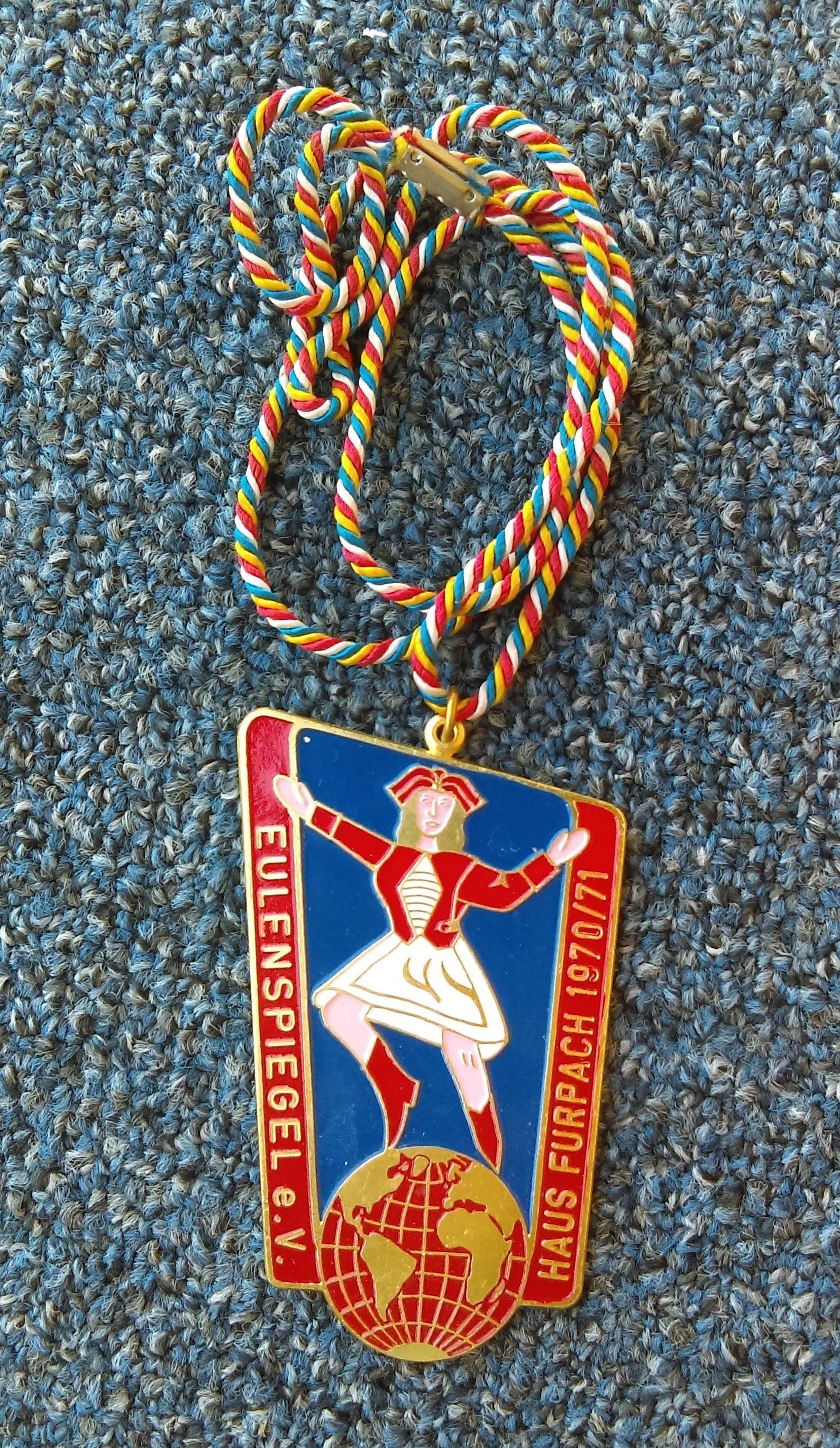 Carnival, Karnevalsverein Eulenspiegel Haus Furpach 1970 /71. Germany medal