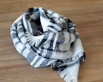 Kids Black and White Blanket Scarf, Girls Plaid Scarf, Mommy Daughter Matching