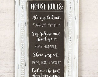 House Rules Pressed Tin Sign