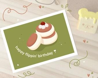 Happy Flippin' Birthday Card | Art Print | Japanese Souffle Pancake Illustration | Matcha Green