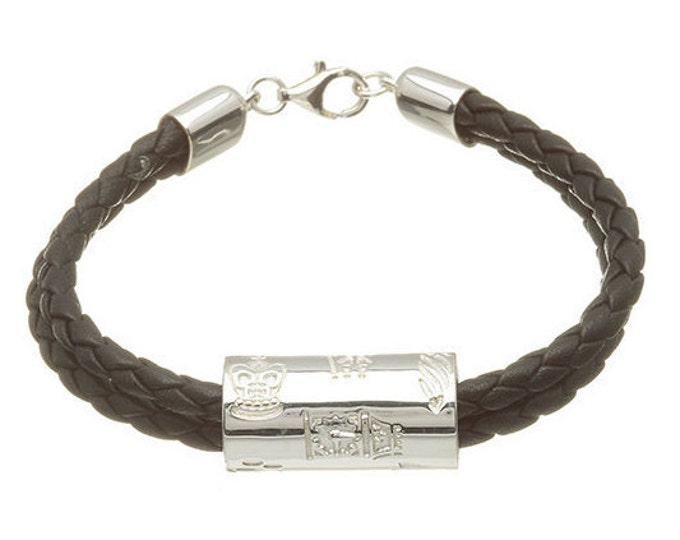 London Tube 2 strand leather Bracelet Hallmarked Sterling Silver