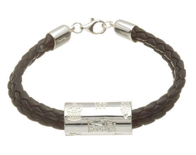 London Tube 2 strand leather Bracelet Hallmarked Sterling Silver