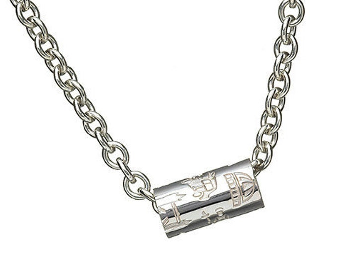 London Tube on Heavy Chain Hallmarked Sterling Silver