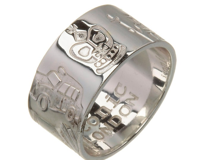 London Ring, Sterling Silver 10mm wide