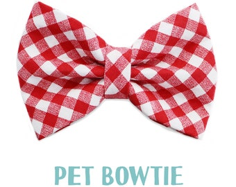 Pet bowtie - Over the collar -  pets cat kitten dog puppy - red and white plaid