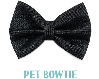 Pet bowtie - with holo glitters, sparkles - Over the collar -  pets cat kitten dog puppy - charcoal color