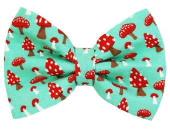 Pet bow tie - MARVELOUS - cat kitten dog puppy - teal blue with red mushrooms print