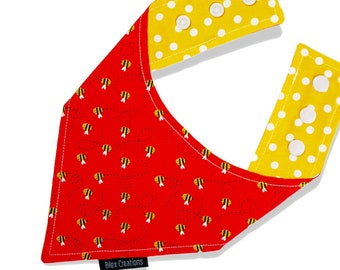 Pet bandana |BEE HAPPY| Reversible and adjustable | For cats kittens and dogs | Made in Canada