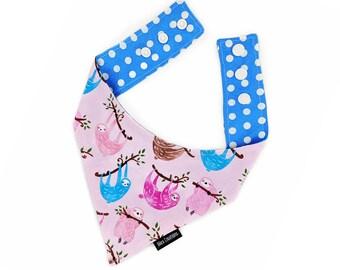 "Pet bandana  ""CHILL OUT"" - cat, kitten, dog -reversible and adjustable -pastel lilac pink purple blue print polka dot - sloth pet bandana"