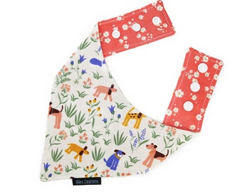 Pet bandana - PUPPY FRIENDS - reversible and adjustable - for cats kittens and dogs - Made in Canada - beige, pink color fabric floral print