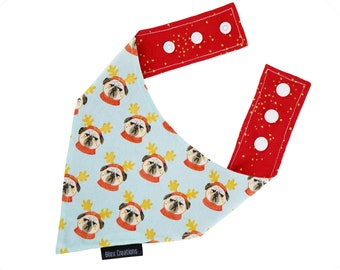 Pet bandana - CHRISTMAS PUGS - reversible and adjustable - for cats kittens and dogs - Made in Canada - blue and red color