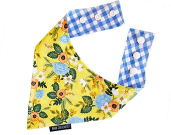 Pet bandana - ALICE - reversible and adjustable - for cats kittens and dogs - Made in Canada