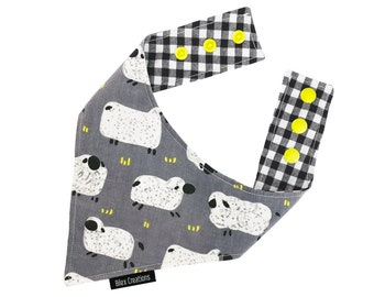 Pet bandana - OH SHEEP - reversible and adjustable - for cats kittens and dogs -  Made in Canada