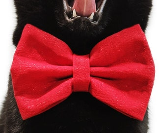 Pet bowtie - Sparkles, glitters - Over the collar -  for pets (cat kitten dog puppy) - red color with glitters
