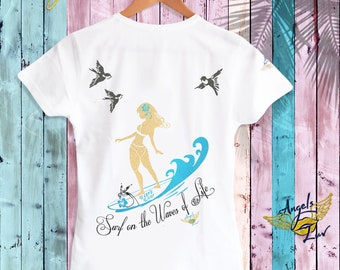 cf65eb8a Life Tee Women • Life Quotes Shirts • Inspired T Shirt sayings Surf on the  waves of Life • Trendy Tee Designs • Surfing life • Gift For Her