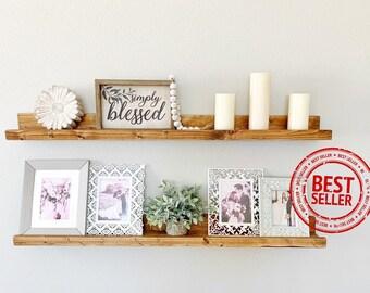 Floating Shelves Ledge Shelf  Wood Shelves Gallery Shelf Nursery Decor Bookshelf