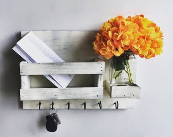 Mail Organizer (Flowers Included) , Distress White Key & Mail Holder, Rustic Organizer, Mason Jar Decor, Farmhouse Decor