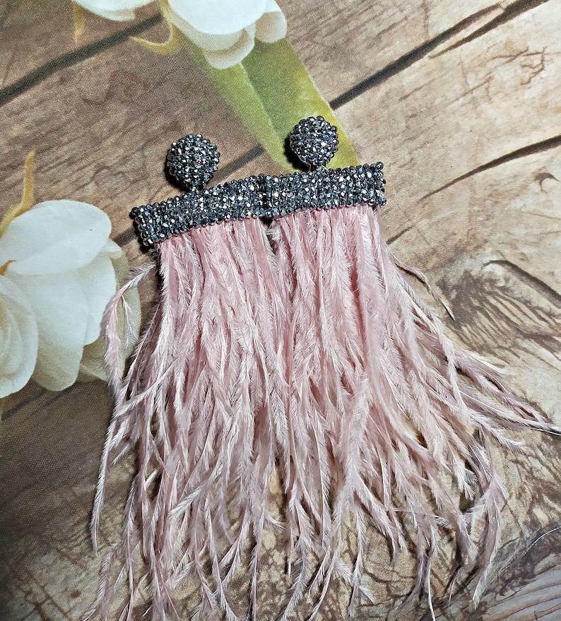 Emerald green color tassel feathers and crystals clipsWaterfall Tassel Earrings Oscar de La Renta earrings statement earringslong tassel